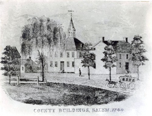 A sketch of the Salem County Courthouse as seen in 1740.