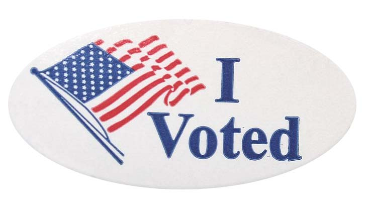 I Voted Sticker with flag