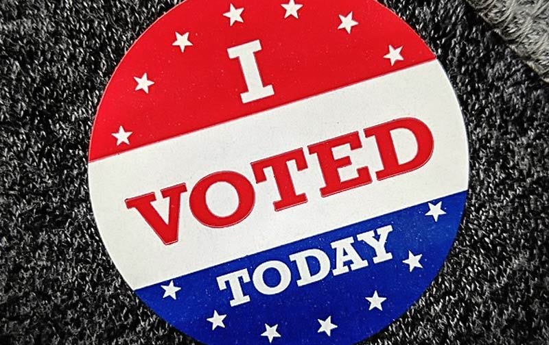 I voted today button in red white and blue